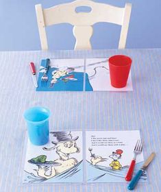 Laminate old book pages and turn them into place mats.  Where's Waldo would be fun for older kids. Cute idea!