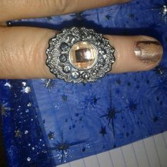 On sale now. Pretty topaz ring  today Beautiful topaz and Crystal sterling silver ring. Jewelry Rings