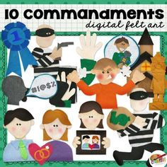 Illustrate and demonstrate the 10 Commandments with this unique set which includes the following handmade digital felt art and black and white line art figures to represent each commandment:1 Blue Ribbon (No Other Gods)2 Idol (Graven Image)3 Swearing (Name in Vain)4 Church (Sabbath Day Holy)5 Girl Holding Photo (Honor Father & Mother)6 Man with Gun (Not Kill)7 Man and Women with rings (Not Commit Adultery)8     Robber (Not Steal)9 Hand on Bible (Not Bear False Witness)10 Angry Boy (Covet...