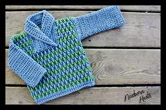 Ravelry: Crocheted Rippled Shawl Collar Baby Sweater pattern by Amanda Chapman