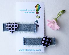 Lavender Heart and Moon Hair Accessory. Pair of by StripyKite