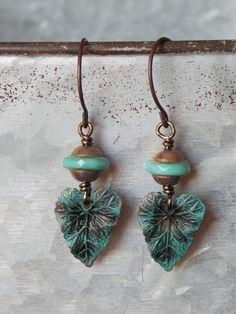 Brass Patina Leaf Dangle Earrings