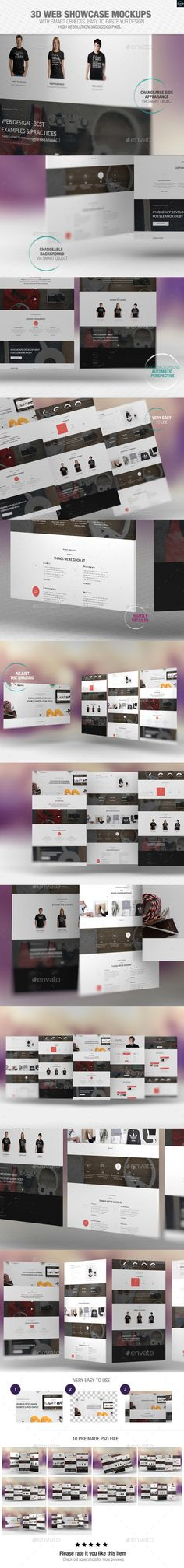 3D WEB SHOWCASE MOCKUPS  With smart objects, easy to paste your design 10 Pre made psd file High resolution 3000×2000 pixel Changeable side appearance via smart object – Automatic Perspective