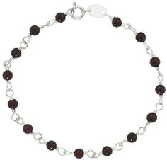 "Sterling Silver, 3/16"" (4 mm) wrapped Natural Garnet Bead Bracelet, size 7 1/2"" Sabrina Silver. $27.38"