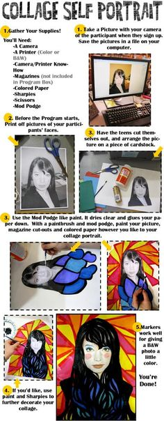 In art therapy, the self-portrait experiential is sometimes relevant.a variation here. Collage Self Portrait Instructions: A program for teens, or any age, really. Revised Instructions from Rachel Moani: Collage Kunst, Collage Art, Kids Collage, High School Art, Middle School Art, Arte Elemental, Collage Portrait, Portraits, Self Portrait Art