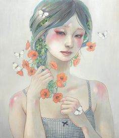 """Miho Hirano's delicate portraits of young goddesses are in and of nature, adorned by pastel flowers, butterflies, and humming birds. They stand blissfully as slender tree branches wrap them in love and color, or wade neck high in a shallow river. We are immediately reminded of """"Flora,"""" represented in Botticelli's """"Allegory of Spring"""", a profusion of flowers coming out of her mouth. See more on Hi-Fructose."""