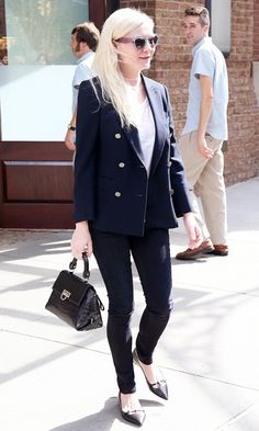 #2: Pull Out Your Trusty Blazer // Kirsten Dunst in a military-inspired blazer and skinny jeans.