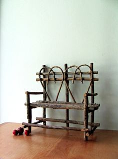 Vintage Twig Heart Bench Valentines Day Miniature Wood Chair Wicker Wooden Doll Furniture Wood Seating Home Decor, Rustic Accent Sturdy