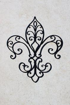 Black Wrought Iron, Fleur de lis Wall Decor, Outdoor Garden Decor via Etsy