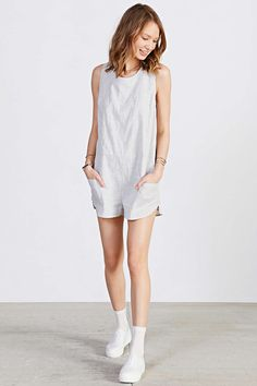 BDG Crinkled Linen Boxy Romper - Urban Outfitters