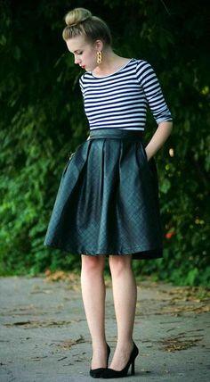 leather skirt stripe shirt - Buscar con Google