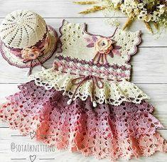 New baby dress crochet vestidos 29 ideas Crochet Baby Dress Pattern, Baby Girl Crochet, Crochet Cardigan, Baby Knitting Patterns, Crochet For Kids, Baby Patterns, Knit Crochet, New Baby Dress, Crochet Doll Clothes