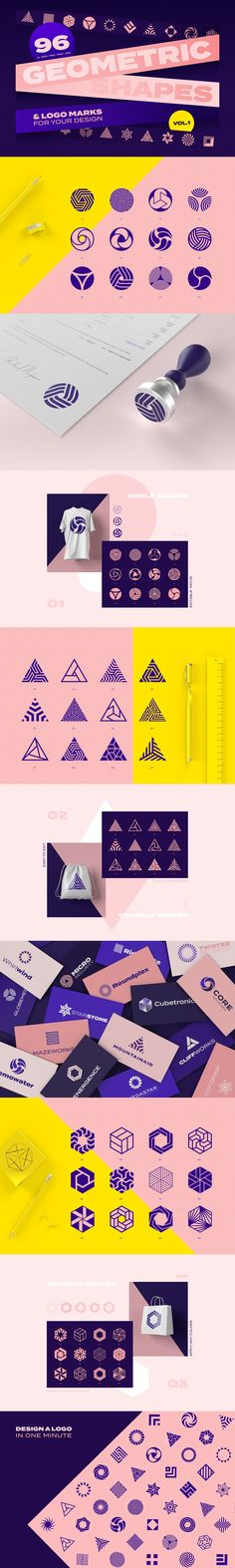 This set is an extensive collection of 96 Geometric shapes & logo marks inspired by the enduring power of clean, crisp and universally symbolic design language. E Design, Design Elements, Logo Design, Media Design, Lettering Design, Branding, Brand Identity, Logos Ideas, Presentation Software