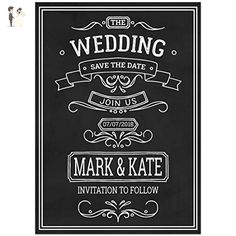 Blackboard Save the Date Card Wedding Invitation - Wedding party invitations (*Amazon Partner-Link)
