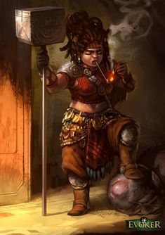 Evoker female Dwarf by FAST-ARTur | NOT OUR ART - Please click artwork for source | WRITING INSPIRATION for Dungeons and Dragons DND Pathfinder PFRPG Warhammer 40k Star Wars Shadowrun Call of Cthulhu and other d20 roleplaying fantasy science fiction scifi horror location equipment monster character game design | Create your own RPG Books w/ www.rpgbard.com