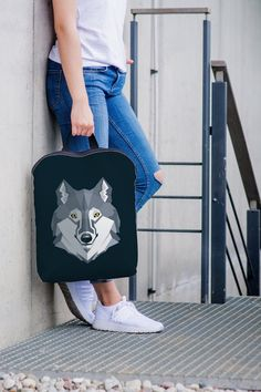Backpack kids, Canvas Backpack, Wolf backpack, Colorful bag, Holiday  backpack, Personalized backpack, Animal print, Wolf print 40484edebf
