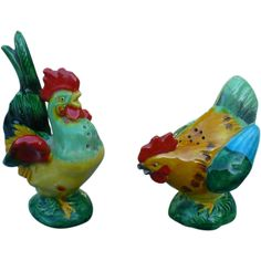 Rooster & Chicken Salt & Pepper Set from looluus on Ruby Lane