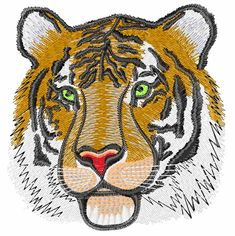 Tiger Head embroidery design from embroiderydesigns.com