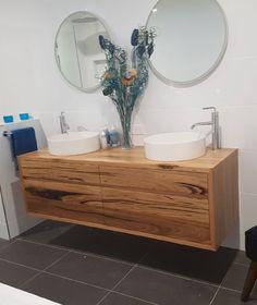 Floating Messmate timber vanity Timber Vanity, Vanity Bathroom, Powder Room, Tiles, Flat, Room Tiles, Wood Vanity, Powder Rooms, Tile
