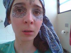 Bird/fairy make-up with side bandanna drape