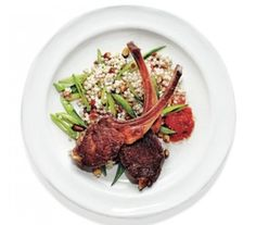 Lamb Chops With Pearl Couscous, Snap Peas, and Harissa