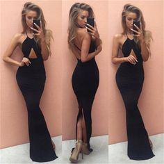 Sexy black sleeveless V neck halter open fork maxi long dress slim package hip Vintage elegance fashion evening party dresses