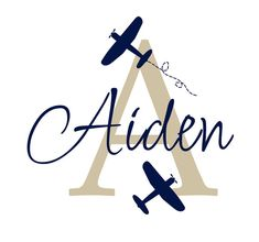 Airplane Wall Decal Initial and Name Custom Vinyl by fivestarsigns, $39.00