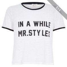 River Island White Mr Styles slogan black trim t-shirt