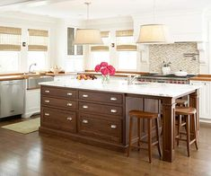 Keep a kitchen simple and classic with a neutral color scheme. More rooms decorated in neutrals: http://www.bhg.com/decorating/color/neutrals/neutral-color-home-decorating-pictures/?socsrc=bhgpin081112brownkitchenisland#page=3