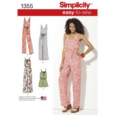 Simplicity 1355 Women's Maxi Dress and Long or Short Jumpsuit Sewing Pattern