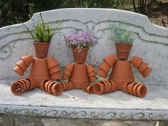 Clay pot craft for Gramy's garden...xmas present