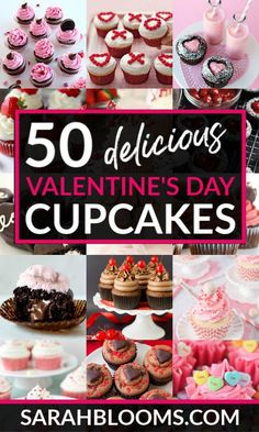 50 Fun + Festive Valentine's Day Cupcakes - Sarah Blooms Fall in love with these Decadent and Delicious Valentine's Day Cupcakes perfect for any occasion – date n Valentine Day Cupcakes, Valentines Day Desserts, Valentine Treats, Fun Desserts, Delicious Desserts, Kids Valentines, Valentines Baking, Valentine Recipes, Heart Cupcakes