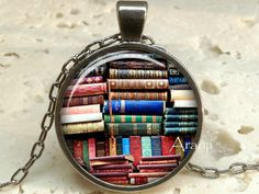 Book pendant Book necklace Book jewelry Books Library by Aranji