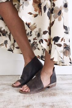 """Free People  Made with Leather  Open Toe Shoe  Side Cutouts  Slight Stacked Heel  Heel: 1.25"""" = 3.17 cm  Also Available in Cherry, Brown, + Natural"""