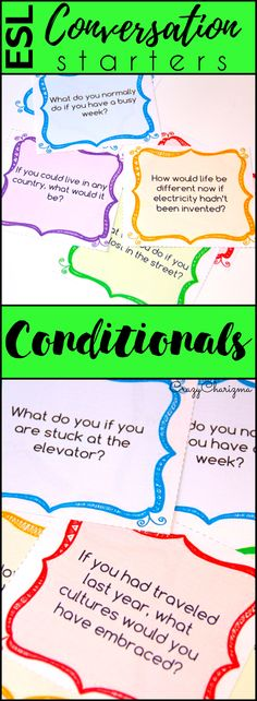 Looking for conversation questions to engage adults and teenagers to speak more? Look no further, take a look at these Conditionals conversation starters. They are perfect for Pre-Intermediate to Advanced level ESL students! Can be also used with ELA / ELL students. | CrazyCharizma