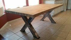 Chunky X 4x4 Steel Table Legs Oversize X by DirtFrogFurniture