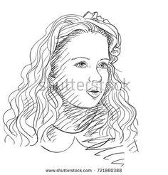 Sketch of portrait of beautiful girl with long wavy hair, Vector hand drawn illustration with hatched shades