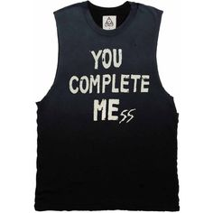 YOU COMPLETE MESS ($65) ❤ liked on Polyvore featuring tops, shirts, tank tops, tanks, no sleeve shirt, cotton sleeveless tops, crew-neck shirts, cotton shirts and cotton tank top
