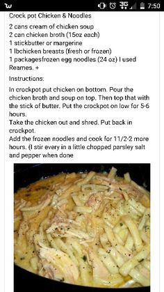 Cook everything except noodles in Crockpot for 6 hours. Add chicken and any veggies you want. Cook for 2 more hours. Crockpot Dishes, Crock Pot Slow Cooker, Crock Pot Cooking, Slow Cooker Recipes, Soup Recipes, Cooking Recipes, Crockpot Meals, Chicken Recipes, Yummy Recipes