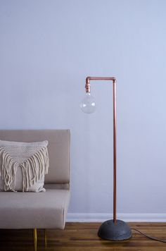 Polished copper and concrete floor lamp with blue and white houndstooth cloth cord and classic plug. by RoanStudiosLA on Etsy https://www.etsy.com/listing/224346670/polished-copper-and-concrete-floor-lamp