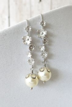Silver Sakura Flower and Swarovski pearl earrings, Garden wedding earrings, Bridesmaid jewelry, Orchid, Gifts for her, silver, www.glitzandlove.com