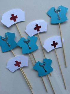 NURSES THEMED  cupcake toppers with hat and scrubs by ThePartyPros