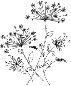 Embroidery Pattern from Penny Black, Inc. Hand Embroidery Patterns, Vintage Embroidery, Embroidery Art, Embroidery Stitches, Embroidery Designs, Flower Embroidery, Doodle Drawings, Easy Drawings, Doodle Art