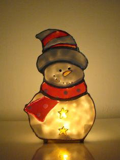 Stained glass snowman candle holder 10cm x 15cm