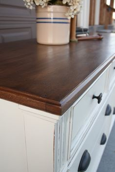 white dresser wood top