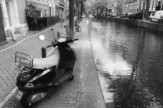 Canal scene with motor scooter-Amsterdam, Holland
