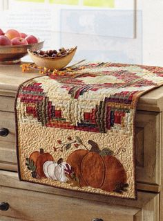 """PUMPKIN SPICE"" QUILTED RUNNER PATTERN--40-1/2"" X 16-1/2"""