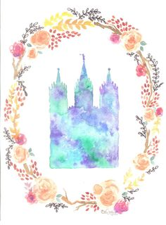 celeste coslett on etsy / watercolor & floral print of the lds salt lake city temple