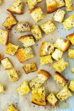 Making your own homemade croutons is so simple! They can be made in minutes and made with your favorite herbs and spice blends. Easy Hummus Recipe, Fresh Strawberry Recipes, Crouton Recipes, Homemade Croutons, Homemade Coleslaw, Baked Oatmeal Recipes, Sweet Potato Noodles, Pork Tenderloin Recipes, Recipe For Mom