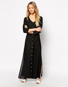 Brave Soul Button Up Maxi Dress With 3/4 Sleeves